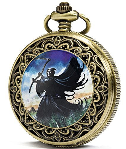 SEWOR Bronze Enamel Craft Pattern Japan Quartz Movement Pocket Watch with Double Chain (Metal & Leather) (Death Cemetery)