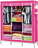 Wardrobe - Portable Non-woven Canvas Fabric Wardrobe With Triple Doors Clothes Closet Storage Organizer Folding Wardrobe With Shelves Cupboard Almirah Foldable Storage Rack Collapsible Cabinet By KARP - Rose Red Color