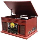 Hyundai® HY-107MC | Nostalgie Retro Kompaktanlage | Plattenspieler | Stereoanlage | Musikanlage | Kassette | Radio | CD-PLAYER | USB | FERNBEDIENUNG | SD | Aufnahmefunktion (Retro Plattenspieler)