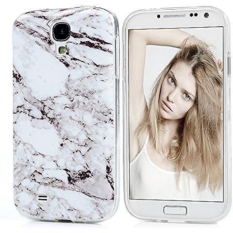 Samsung Galaxy S4 i9500 Carcasa Silicona TPU Ultra Fina Delgada Slim MAXFE.CO Funda con Dibujo de Mármol y Color de Blanco