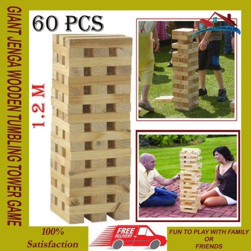 GardMax 1.2M 60 PIECES GIANT WOODEN TUMBLING TOWER GAME INDOOR OUTDOOR GARDEN FAMILY GAMES KIDS