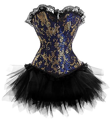 FHSIANN Kleid Kostüm Burlesque Blue Gold viktorianischen Brokat Korsett & Tutu Rock Outfit Teil Hallow EINWeihnachten S-6XL Steampunk (Brokat Kostüm Kleid)