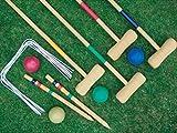 4 Player Complete Wooden Outdoor Garden Croquet Set Mallet Balls Toy Fun Croquet