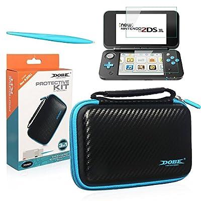 Étui de transport noir pour Nintendo 2DS XL - 2 protections d'écran Film en verre - 1 Panneau tactile électromagnétique