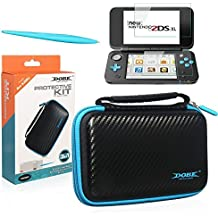 Black Carry Case Kits for New Nintendo 2DS XL/LL -with 2 Screen Protector Film- Stylu Pens