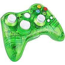 Molyhood Mando Xbox 360 inalámbrico para Microsoft Xbox 360 Console PC con Windows, PC controlador GamePad transparente con 8 LED Luces