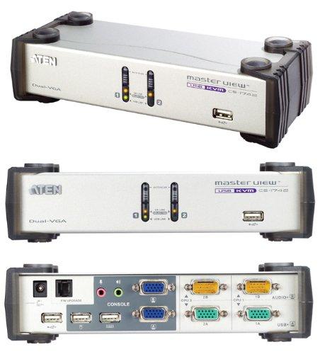 ATEN Switch KVM CS1742C, plateado