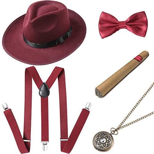 ArtiDeco 1920s Herren Accessoires Mafia Gatsby Kostüm Set Inklusive Panama Gangster Hut Verstellbar Elastisch Hosenträger Herren Halsschleife Fliege Taschenuhr und Plastik Zigarre (20 Vintage Kostüm)