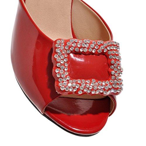AIYOUMEI Damen Lack Peep Toe Stiletto High Heels Pantoletten mit Strass Bequem Modern Sandalen Schuhe Rot