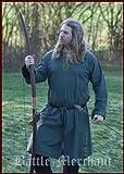 Battle Merchant Medieval práctica túnica con Cenefa, Color Verde–para, Medieval, Römer, Vikingo, Todo el año, Color, tamaño Medium