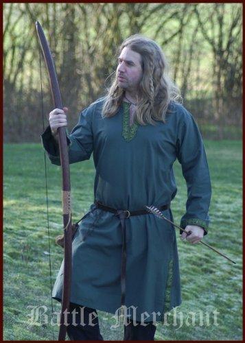 16. Jahrhundert Männer-kleidung (Mittelalterliche Tunika mit Bordüre, grün von Battle-Merchant - Mittelalter LARP Römer Wikinger Größe L)