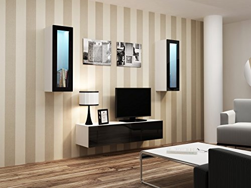 Wohnwand ' Vigo Full II' Hochglanz Hängeschrank Lowboard Glasvitrine, Farbe:weiß matt / schwarz Hochglanz