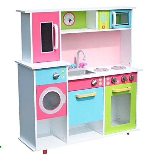 XXL Spielküche Kinderküche aus Holz Küche Kinder Spielzeug Holzküche weiss /bunt - Küchenzeile mit...inkl. Backofen, Spüle, Herd, Microwelle, Waschmaschine und Geschirrschrank