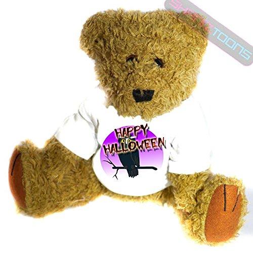 n Geschenk Teddy Bär–Creepy Eule Geschenk bedruckt Teddy T Shirt–23cm hoch stehend (Bär Happy Halloween)