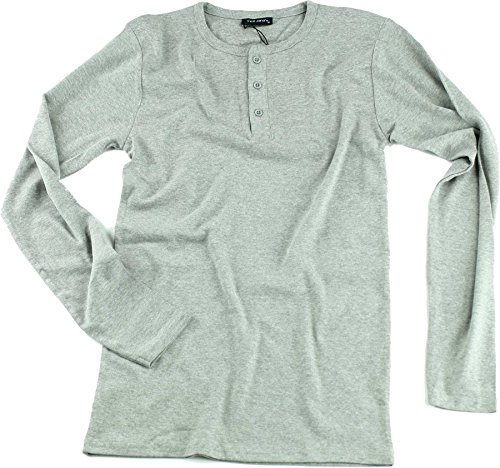 Mens 1x1 Rib Granddad Heather Grey