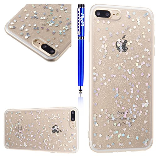 Coque pour iPhone 8 Plus,iPhone 7 Plus Silicone Housse Etui,EUWLY Ultra Mince TPU Silicone Slim Housse Etui Case Soft Gel Cover Skin,Ultra Slim Flexible Soft Gel Protective Case TPU Doux Housse Etui d Coeur D'amourt,Argent