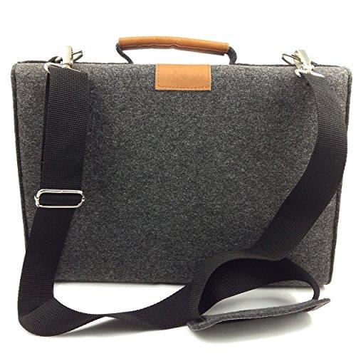 Venetto Businesstasche Umhängetasche Aktentasche Arbeitstasche Handtasche Herren Damen Unisex Filztasche Tasche aus Filz mit Schultergurt mit Echtleder-Applikationen (Schwarz meliert) Schwarz meliert