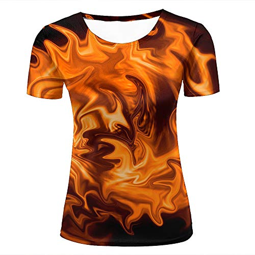 Womens 3D Printed T-Shirts Abstract Flowing Magma Flame Creative Novelty Short Sleeve Tops Tees S (Volcom-zeichen)