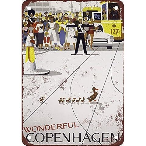 1959meravigliosa Copenaghen Danimarca stile vintage Riproduzione Targa