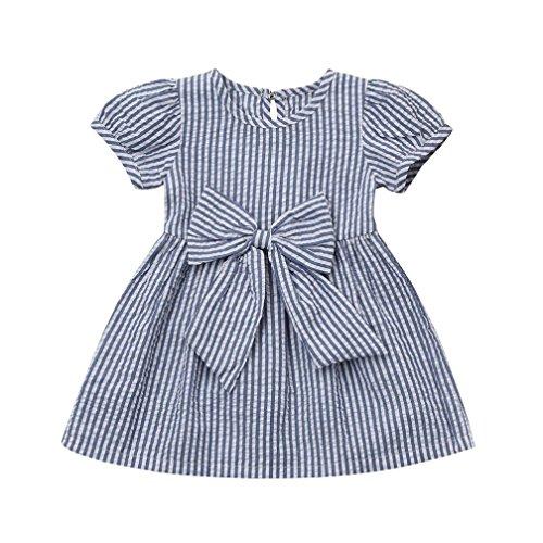 JERFER Streifen Bogen Prinzessin Baby Mädchen Infant Kleinkind Kinder Kleidung Outfits ()