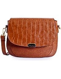 Lino Perros Brown Leatherette Sling Bag