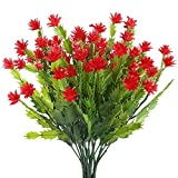 Nahuaa Künstliche Blumen 4 Stück Kunststoff Pflanzen Blumen Rot Kleine Deko Kunstblumen für Draußen Küche Balkon Hochzeit Garten Büro