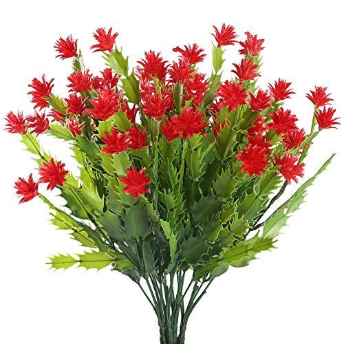 Nahuaa Flores Artificiales Exterior 4pcs Plantas Decorativas Artificiales Aloe Rojo Arbustos de...