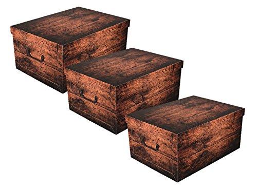 3 Stück XXL Dekokarton DARK WOOD in schöner, dunkler Holzoptik - Tolles Motiv, passt in jeden Haushalt! Edel und hochwertig! Mit Griffen zum Tragen und XXL Volumen!