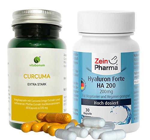 Vitabonum Curcuma Extra Stark, Je 450 Mg Bio Curcumin,60 Kapseln & Zein Pharma Hyaluron Forte, Je 200 Mg Hyaloronsäure, 30 Kapseln, Vorrat Für 1 Monat