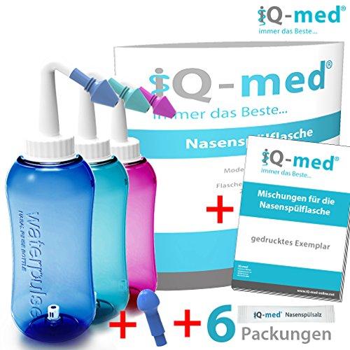 Nasendusche von iQ-med® 500ml + Rezeptbuch + 2 Aufsätze | Nasenspülung: Natürliche Hilfe bei Erkältung und Allergien | auch für Kinder geeignet | Nasenspülkanne, Nasen-Dusche, Nasen-kanne, Nasenspülset, Nasen-spülung, Nethi, Neti, Nase Spül-kanne (türkis)