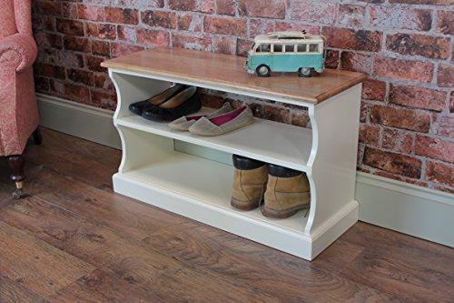 Pindars Banc à chaussures, EN Chêne massif et pin, DE Bottes 91,4 cm Blanc