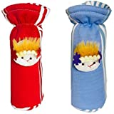 EIO® Baby Feeding Bottle Cover With Soft & Attractive Fancy Cartoon -Set O F 2 Colors & Designs (RED BLUE STRIPES FACE, 150ml)