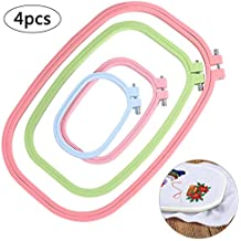 FineInno 4 Piezas Bastidor para Bordar Embroidery Hoops Punto de Cruz Cross Stitch Hoop (4