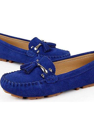 ZQ gyht Damenschuhe - Ballerinas - B¨¹ro / L?ssig / Party & Festivit?t - Wildleder / T¨¹ll - Flacher Absatz - Ballerina / Boot - Blau / Braun / Rot blue-us6.5-7 / eu37 / uk4.5-5 / cn37