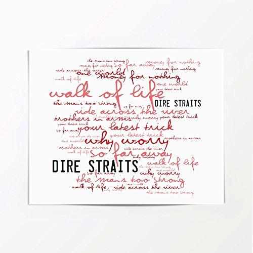 Dire Straits Poster Affiche d'art - Brothers in Arms - Edition signée et numérotée limitée Typographie Non encadré 20 x 25 cm la Musique Album Mur Art Haute qualité d'impression