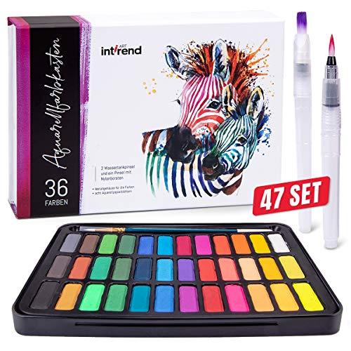 int!rend Aquarellfarbkasten, hochwertiges Aquarell-Farben-Set bestehend aus 36 Wasserfarben, 1 Pinsel, 2 Wassertankpinsel, 8 Aquarellpapier - Malkasten für Anfänger und Profis -