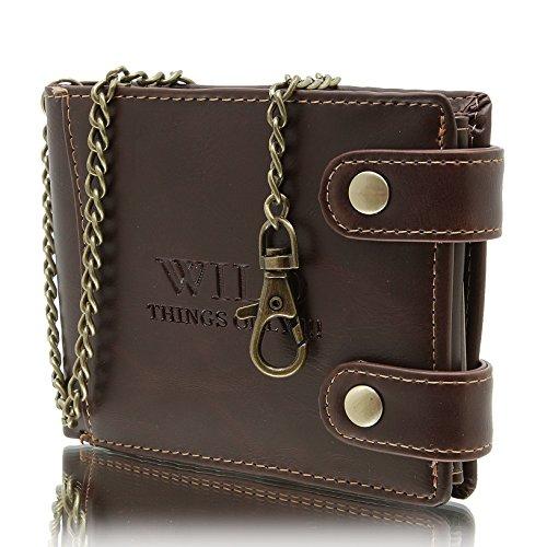 Herren - Brieftasche in horizontaler Ausführung mit Kette Geldbörse WILD THINGS ONLY (camel) braun