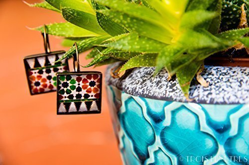 Alhambra earrings - Ecoresin and Mosaic Photography - Orange and Green Mosaic - Christmas gift for her