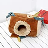 bearivt Hamster Hammock Small Pet Tunnel Toy Chinchillas Warm Nest Hammock Hamster Cotton Nest Jungle Stump Leaves Hanging Bed Nest benchmark
