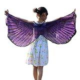 Lazzboy Costume Enfants Garçons Filles Bohémien Imprimé Papillon Châle Pashmina Accessoire (M,Violett)