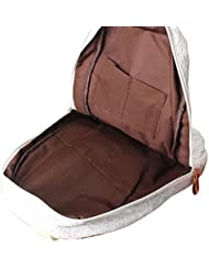 Tongshi Bolso de la manera del cordón de las muchachas linda mochila de lona del bolso de escuela del bolso de Bookbag (Blanco)