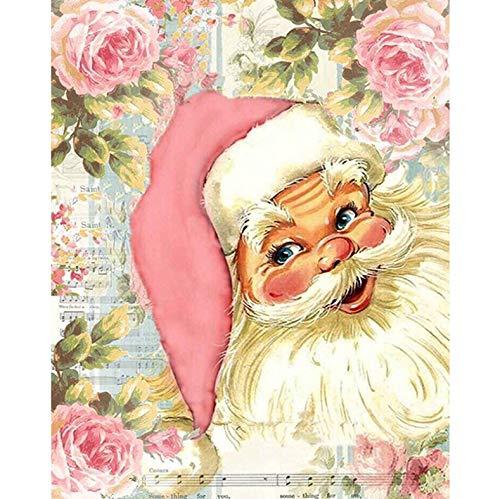 HAOTTP Diamant Malerei Kit Dekoration DIY Santa In Rosa Hüte Volle Runde Bohrer/Runde Diamanten Stickerei Für Wohnzimmer Wohnkultur Diamond Painting 40X50 cm