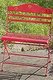 Gartenbank Willy Bank Eisen rot mit Pilzmotiv