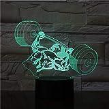 MRLZLT Sport Fitness 7 Farbe Ändern Gewicht Heben Mann Led 3D Illusion Tischlampe 3D Nacht Licht...
