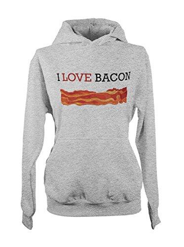 I Love Bacon Amusant Shef Cooking Food Baker Femme Capuche Sweatshirt Gris
