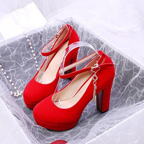 Da donna-Tacchi-Formale Casual Serata e festa-Plateau-Quadrato Plateau-Finta pelle-Nero Rosso Red