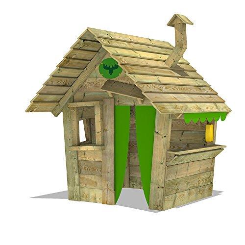 FATMOOSE Casita de juego HippoHouse Heavy XXL Casita para niños jardín Juego infantil con techo de madera, chimenea y mostrador