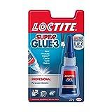 Loctite Super Glue-3 Profesional, pegamento universal triple resistencia, adhesivo para uso intensivo, pegamento instantáneo, transparente y extrafuer