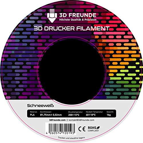 3D FREUNDE Filament aus PLA 1,75 mm 1kg Rolle für 3D Drucker oder Stift - Schneeweiß