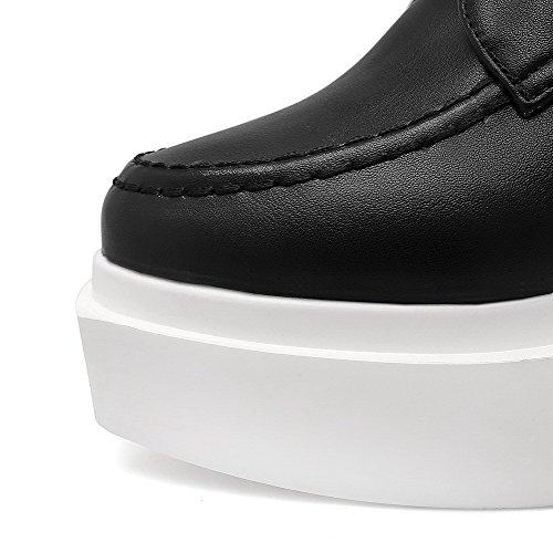 AgooLar Femme Couleur Unie Matière Souple à Talon Haut Lacet Rond Chaussures Légeres Noir